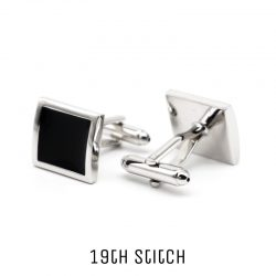 Square Black Silver Plated Cufflink