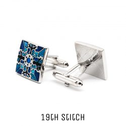 Square Blue Patterned Silver Plated Cufflink