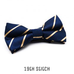 Blue Bow Tie with Gold Stripe