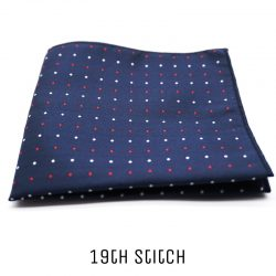 Blue Pocket Square with Red White Polka Dot