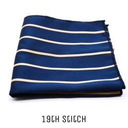 Blue Pocket Square with Gold Stripe